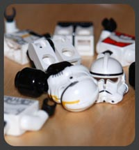 Disembodied Imperial trooper minifigs
